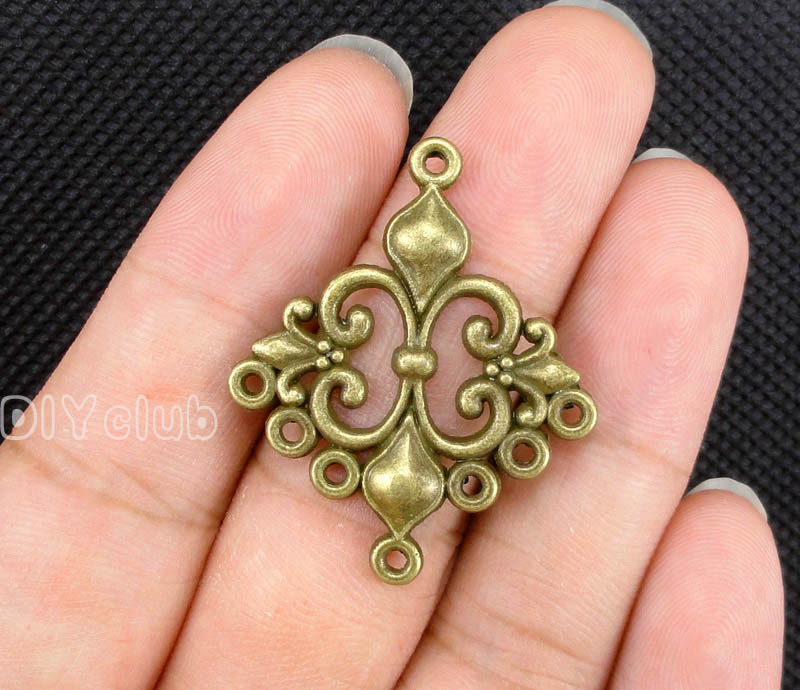 40pcs-Antique Bronz Fleur de lis Bağlayıcı Charms 36x30mm