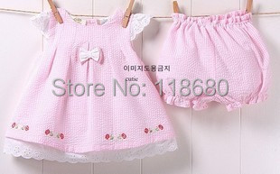 Summer Baby & kids clothes sets baby girls t-shirts dress + child shorts sets cute pink girl t shirt Short sleeve suit