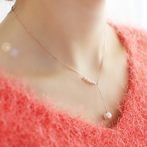 YUN RUO Adjustable Pearls pendant Necklace stainless steel Titanium Rose Gold Color Woman Jewelry gift Wholesale