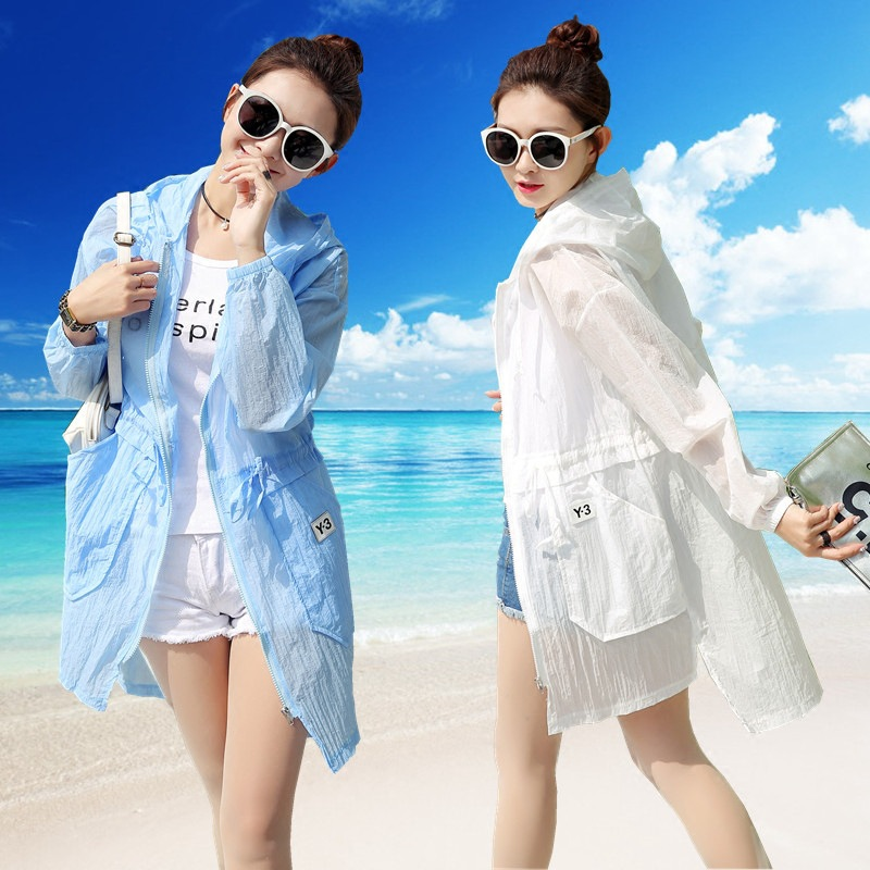 Sunscreen Hooded Jacket Women Summer Coat Full Sleeve Casual Loose Long Thin Cardigan Blouse Top Windbreaker Clothing A08092