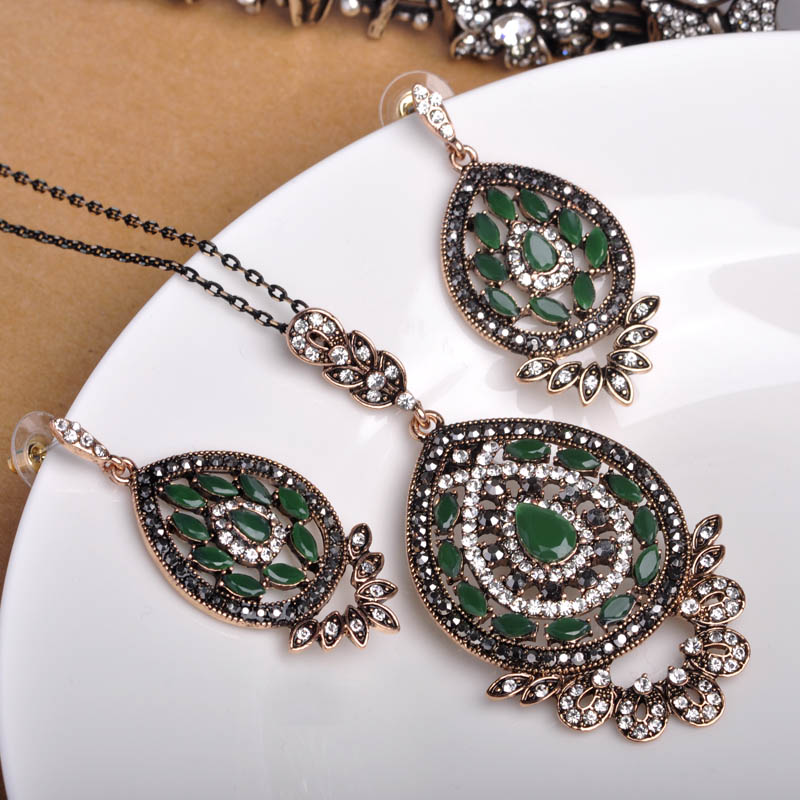 New Turkish Vintage Necklace&Earrings Jewelry Sets Bling Bling Crystal Adjustable Chain 50cm Max Brincos Collar Bijuterias Joyas
