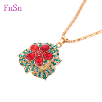 Fashion Jewelry flower Necklace Womens Gold Colour Long Necklaces & Pendants Top Quality Crystal Zinc Alloy Necklaces Wholesales