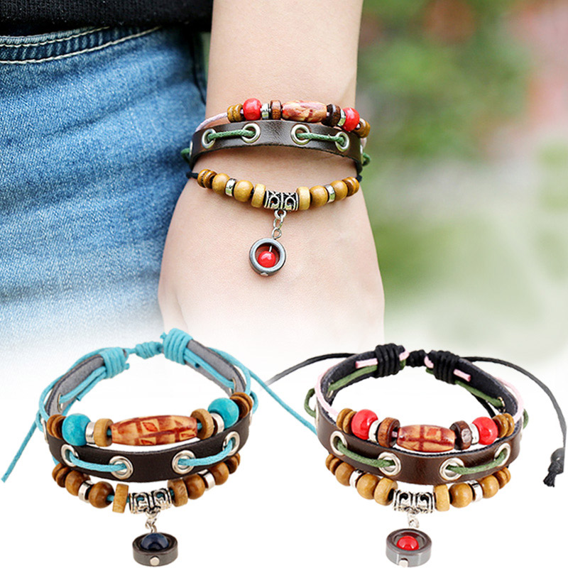 Vintage Multi Layers Beads Bracelet Handmade PU Leather Bracelets Bangles For Women Men Jewelry Gifts KQS8