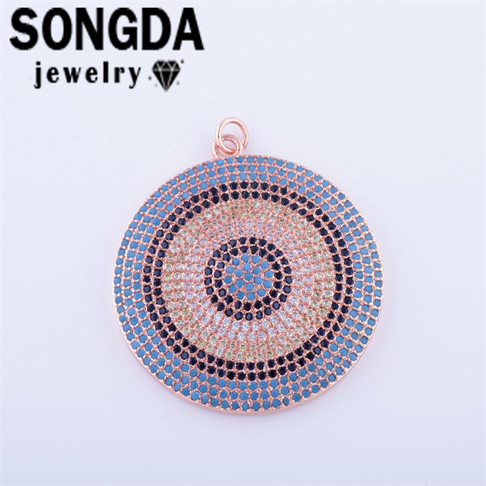 SONGDA Vintage 41.5 * 35mm Multicolor Zircon Pendants Micro Pave CZ Jewelry DIY Shining Women Necklace Charms Accessories PX0482