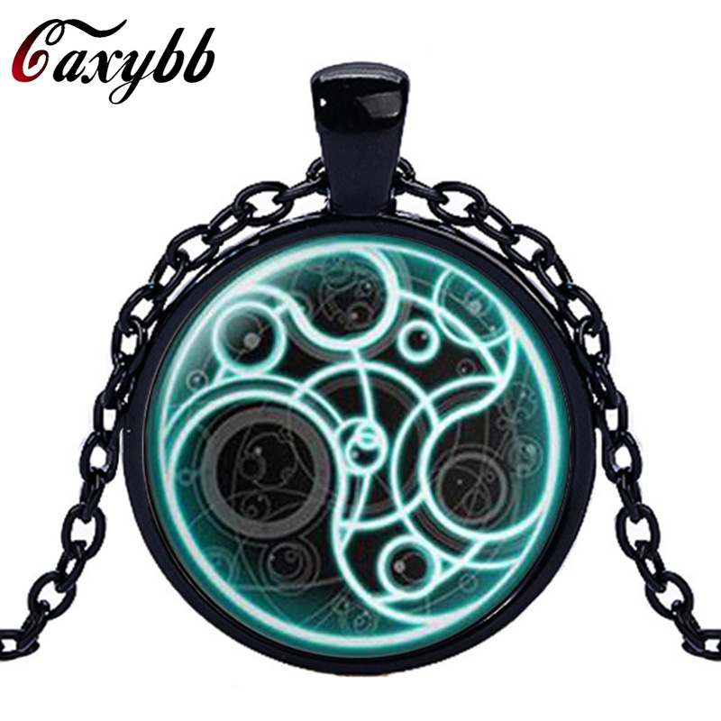 Caxybb brand Doctor Who necklace Round Glass Necklace Doctor Who Time Lord Seal Pendant Time Lord Gallifreyan Steampunk Necklace