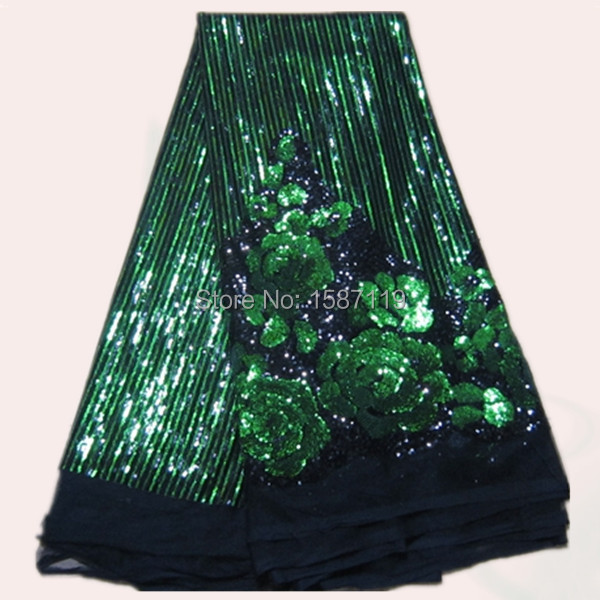 Black and green flower French net Lace Fabric with sequinsfor dress FN3-1(5yards/pc) African organza lace cloth
