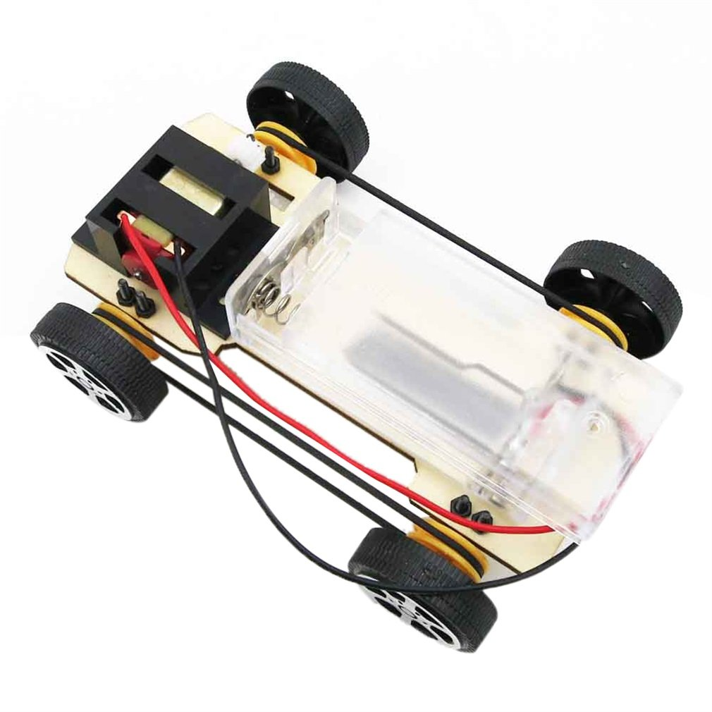 Self assembly DIY Mini Battery Powered Wooden Car Model Children Educational Toy Boy Gift Game Funny Worldwide sale