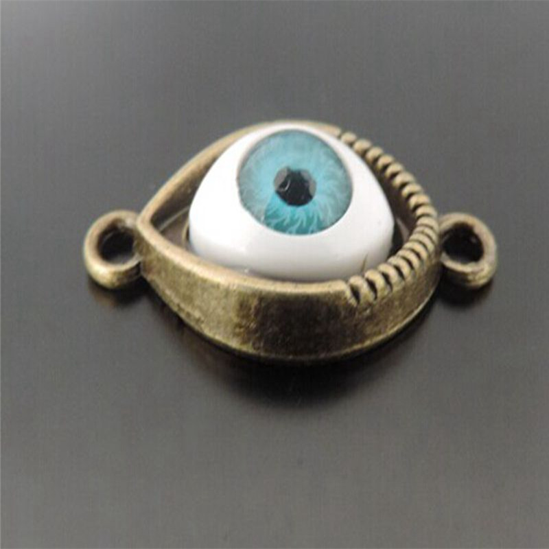 25pcs/lot Fashion Stereoscopic AntiquedBronze base setting Blue Evil Eye Alloy Charms Connector Pendant jewelry finding 38837
